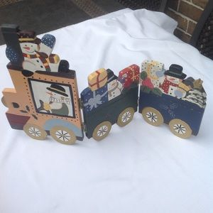 Gently used wooden foldable Snowman train